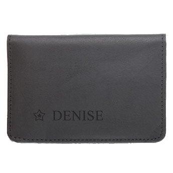Leather bank card holder - Black