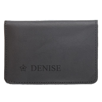 Leather bank card holder - Black