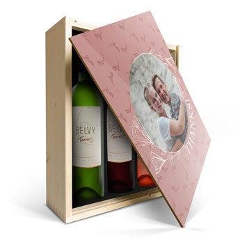 Set de regalo de vino en caja - Belvy - Rojo, Blanco y Rosado