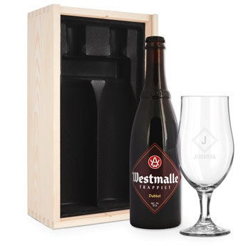 Beer gift set with engraved glass - Westmalle Dubbel