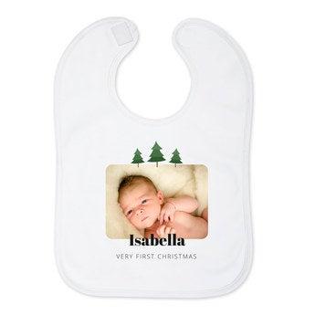Bavaglino Neonato - Primo Natale - Bianco