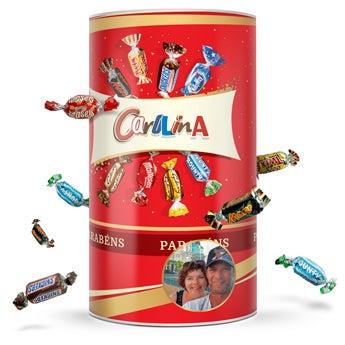 Tubo de chocolates Celebrations com nome/foto
