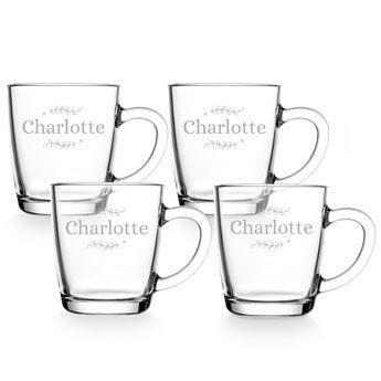 Theglas med gravyr - 4 stycken