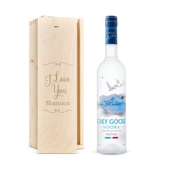 Grey Goose vodka in engraved case
