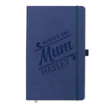 Mors dag anteckningsbok - inristad (blå)