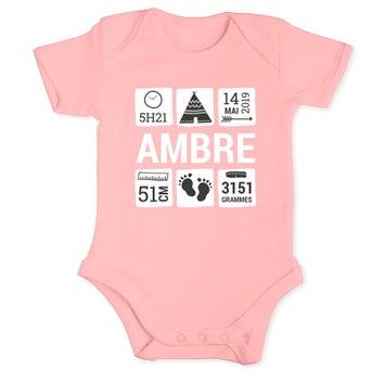 Body bébé - Manches courtes - Rose - 62/68