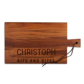 Fából készült tál - Teak - Téglalap - Tájkép (M)