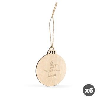 Puinen joulukoriste kaiverruksella - Pallo - 8 kpl