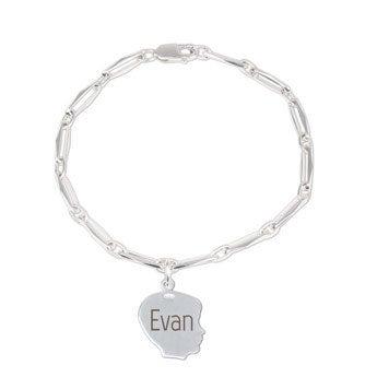 Bracelet gravé argent - Charm petit garçon