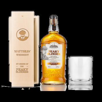 Peaky Blinders whiskysæt (med indgraveret trææske)
