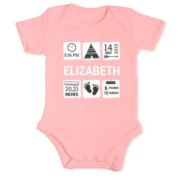 Detský romper - krátky rukáv - Baby pink 62/68