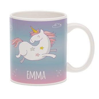 Taza de unicornio con texto