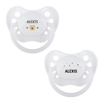 Personalised pacifiers - White - Set of 2