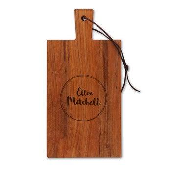 Dřevěný servírovací talíř - týk - obdélník - portrét (S)