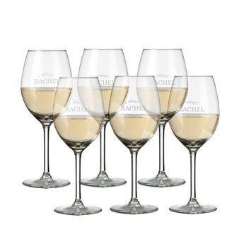 Copas de vino blanco grabadas - Set de 6