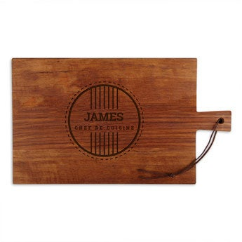Dřevěná deska na sýr - týk - obdélník - krajina (L)