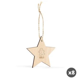 Puinen joulukoriste kaiverruksella - Tähti - 8 kpl