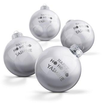 Boule de Noël en verre - Argent  (4 pièces)