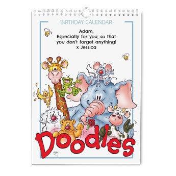 Doodles calendário de aniversários