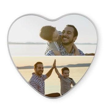 Personalised photo tin - heart-shaped