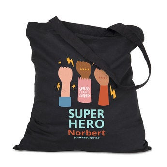 Tote bag Super-héros - noir