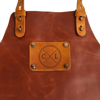 Leather apron with name - Brown