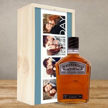 Bourbon Jack Daniels Gentleman Jack - i trälåda med tryck
