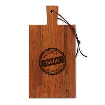 Tábua de queijos de madeira - Teca - Retângulo - Retrato (S)