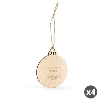 Puinen joulukoriste kaiverruksella - Pallo - 4 kpl