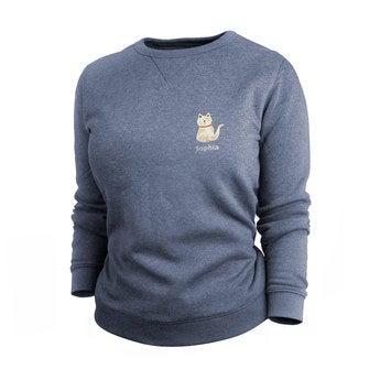 Pullover Damen bedrucken - Blau - S