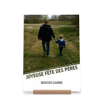 Carte de Fête des Pères en bois - Verticale