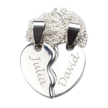 Zilverkleurige naamhanger - Gebroken hart