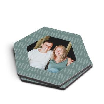 Lasinaluset kuvalla - kuusikulmio - 2 kpl