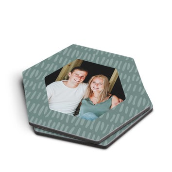 Personalised coasters - Hexagon - Set of 2