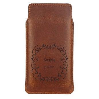 Kožený obal na mobil - XL - Hnědý