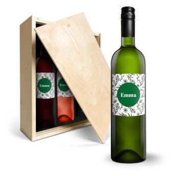 Luc Pirlet Merlot, Sauvignon Blanc och Syrah - med personlig etikett