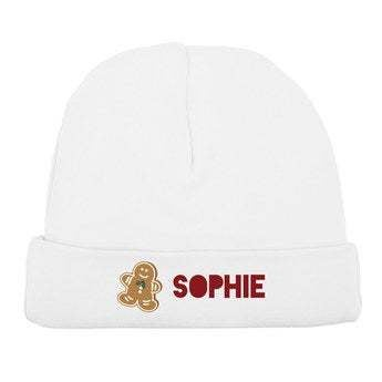 Baby beanie - First Christmas - White