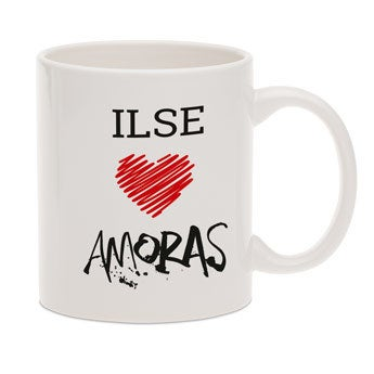 Amoras mok met tekst