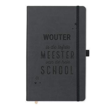 Juf / Meester notitieboek met naam - Zwart