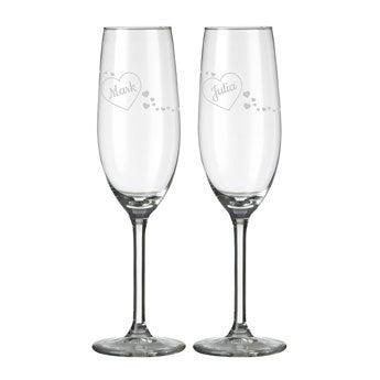 Valentijn champagneglazen set