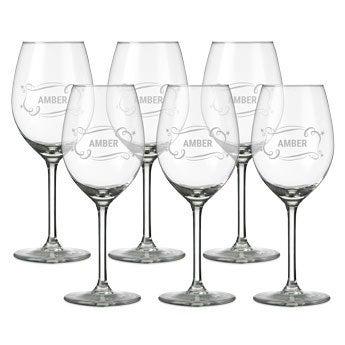 Vitt vinglas med gravyr - 6 stycken
