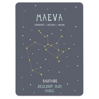 Affiche de naissance signe astrologique