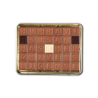 Chokolade telegram i tin - 35 tegn