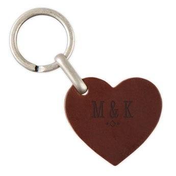 Porte-clé prénom en cuir - Coeur - Marron