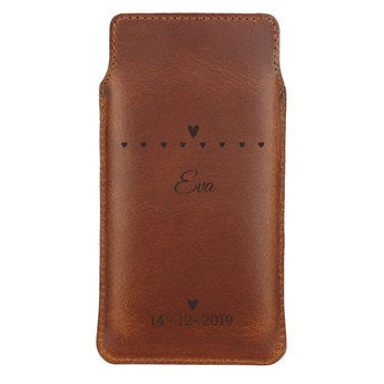 Leather phone case - S - Brown