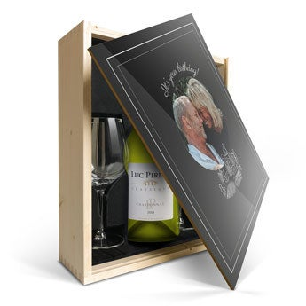 Confezione Stampata Vino Luc Pirlet Chardonnay con bicchieri