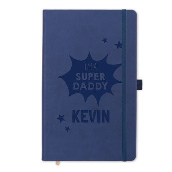 Fars dagbog - indgraveret - Blå