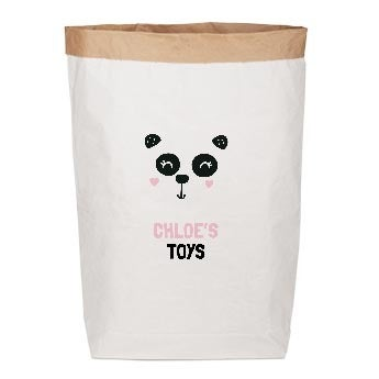 Opbevaringspose til legetøj, lavet i papir