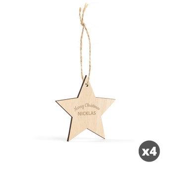 Indgraveret julepynt i træ – stjerne – 4 stk.