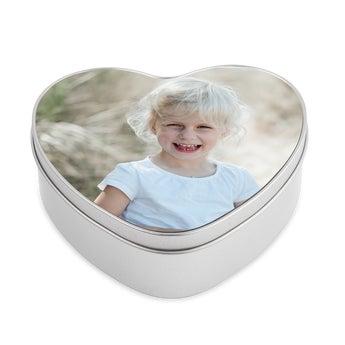 Tin memory box - heart-shaped